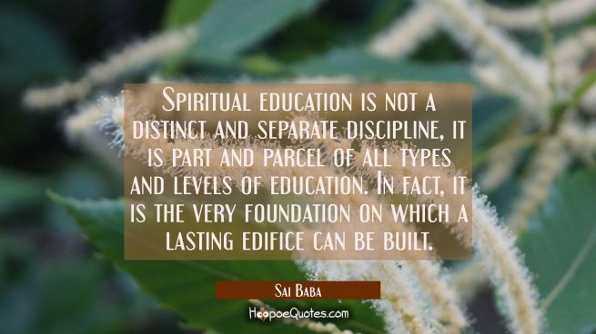Spiritual education is not a distinct and separate discipline, it is part and parcel of all types a