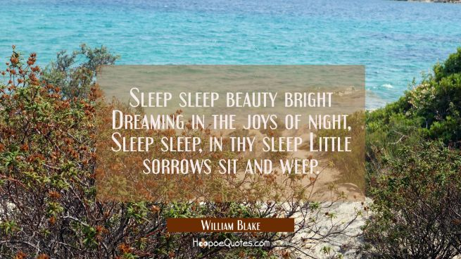 Sleep sleep beauty bright Dreaming in the joys of night, Sleep sleep, in thy sleep Little sorrows s