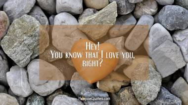 Hey! You know that I love you, right? I Love You Quotes