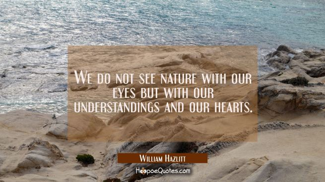We do not see nature with our eyes but with our understandings and our hearts.