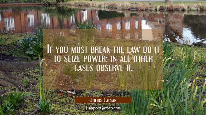 If you must break the law do it to seize power: in all other cases observe it.