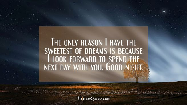 The only reason I have the sweetest of dreams is because I look forward to spend the next day with you. Good night.