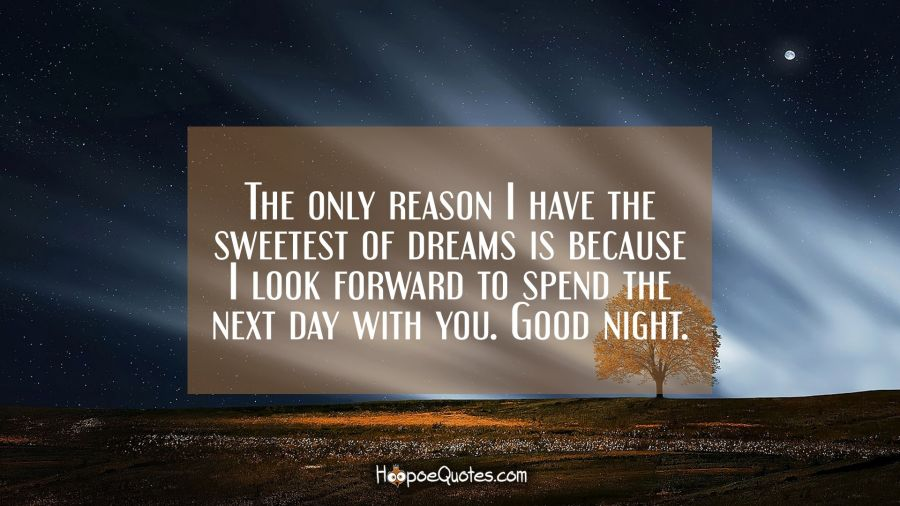 The only reason I have the sweetest of dreams is because I look forward to spend the next day with you. Good night. Good Night Quotes