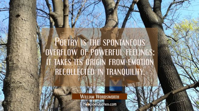Poetry is the spontaneous overflow of powerful feelings: it takes its origin from emotion recollect