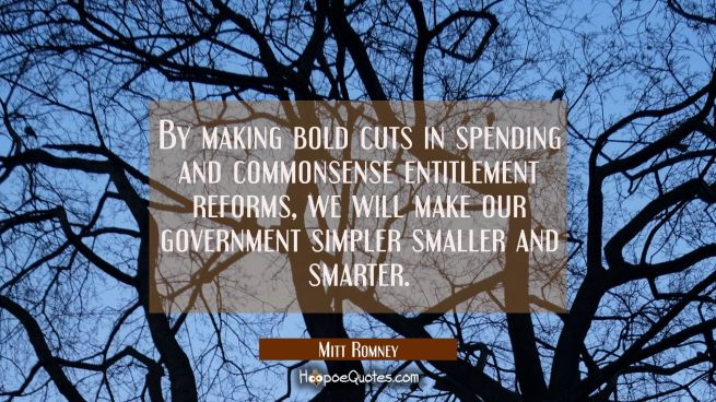 By making bold cuts in spending and commonsense entitlement reforms we will make our government sim