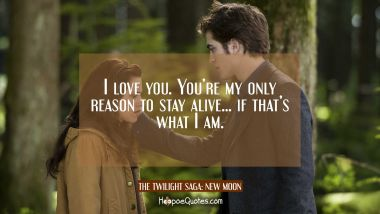 I love you. You're my only reason to stay alive... if that's what I am. Quotes