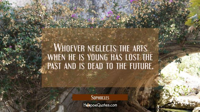 Whoever neglects the arts when he is young has lost the past and is dead to the future.