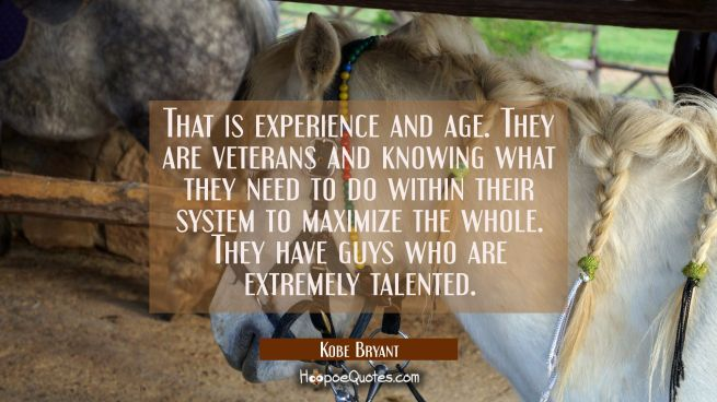 That is experience and age. They are veterans and knowing what they need to do within their system