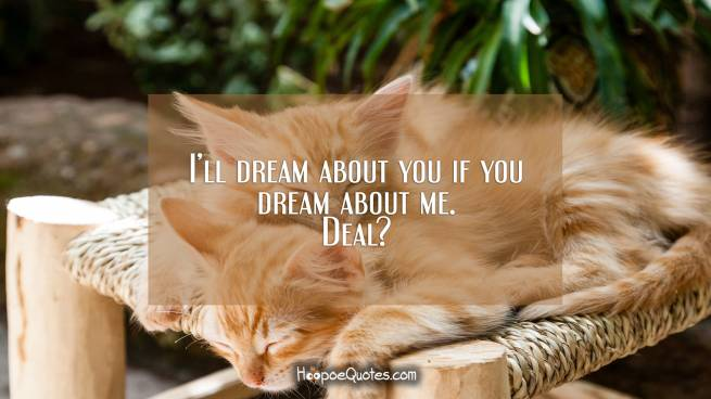 I'll dream about you if you dream about me. Deal?