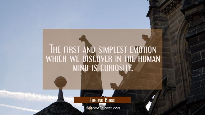 The first and simplest emotion which we discover in the human mind is curiosity.