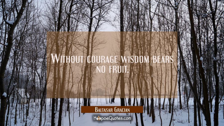 Without courage wisdom bears no fruit. Baltasar Gracian Quotes
