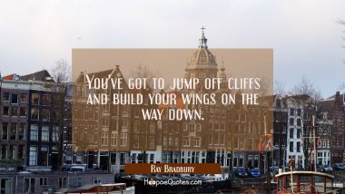 You've got to jump off cliffs and build your wings on the way down.