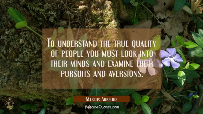 To understand the true quality of people you must look into their minds and examine their pursuits