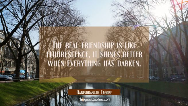 The real friendship is like fluorescence, it shines better when everything has darken.