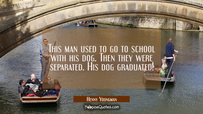 This man used to go to school with his dog. Then they were separated. His dog graduated!