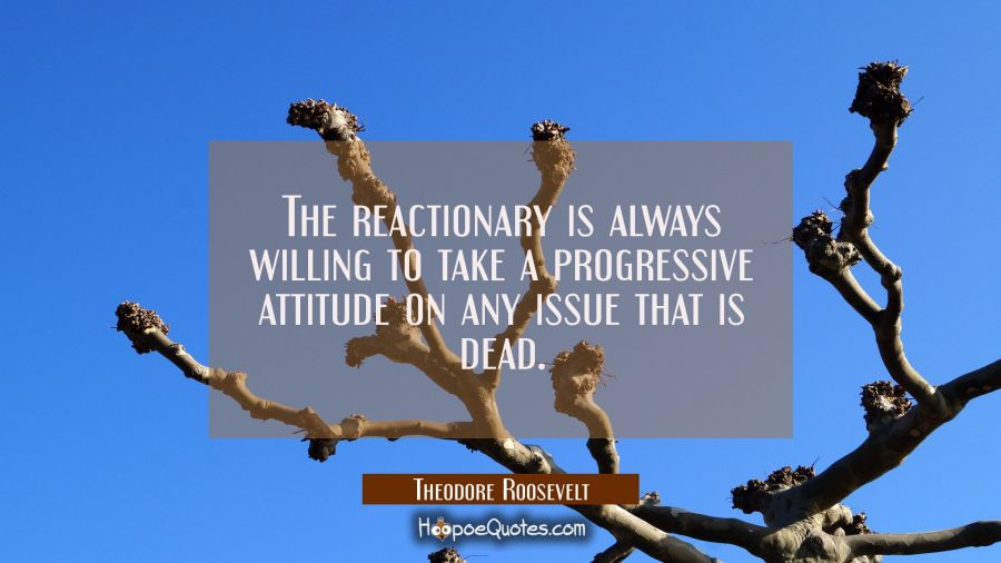 The reactionary is always willing to take a progressive attitude on any issue that is dead. Theodore Roosevelt Quotes