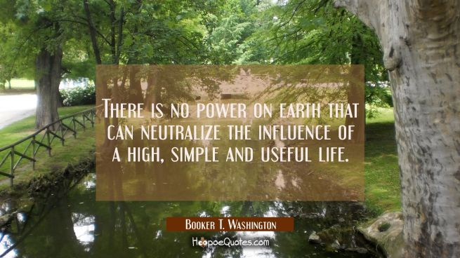 There is no power on earth that can neutralize the influence of a high simple and useful life.