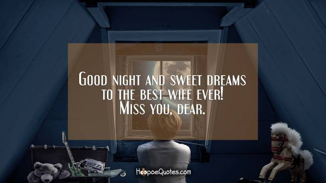 Good night and sweet dreams to the best wife ever! Miss you, dear.
