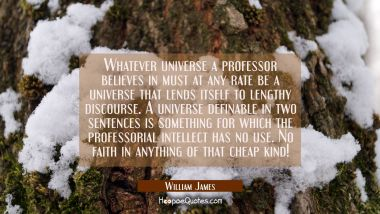 Whatever universe a professor believes in must at any rate be a universe that lends itself to lengt