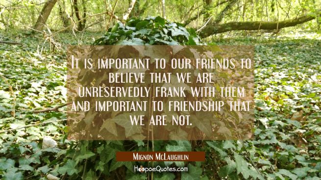 It is important to our friends to believe that we are unreservedly frank with them and important to