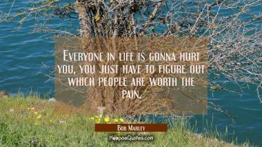 Everyone in life is gonna hurt you, you just have to figure out which people are worth the pain. Bob Marley Quotes