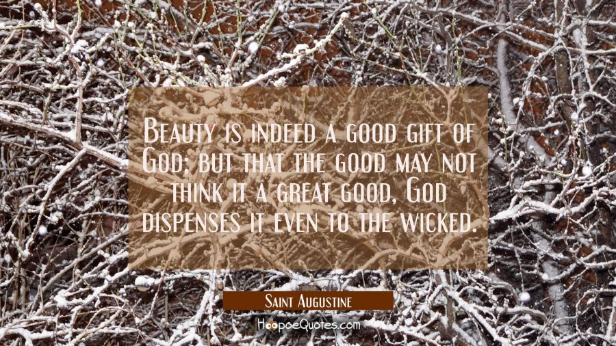 Beauty is indeed a good gift of God, but that the good may not think it a great good God dispenses Saint Augustine Quotes