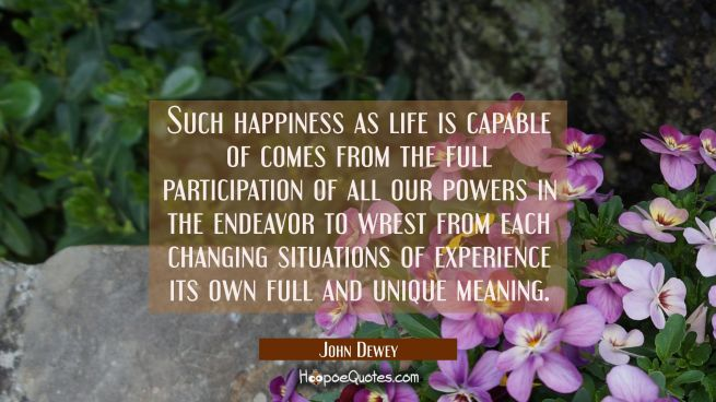 Such happiness as life is capable of comes from the full participation of all our powers in the end