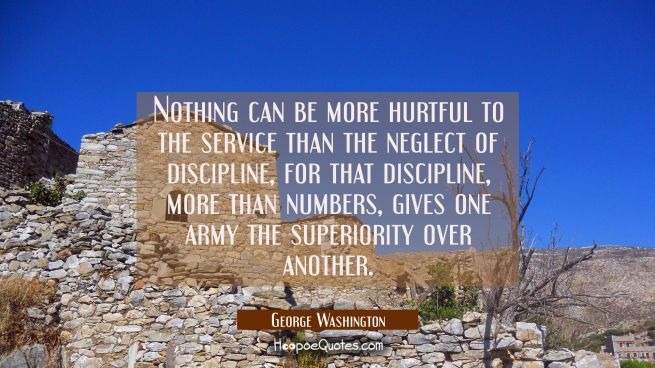Nothing can be more hurtful to the service than the neglect of discipline, for that discipline more