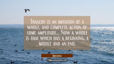Tragedy is an imitation of a whole and complete action of some amplitude. . . . Now a whole is that