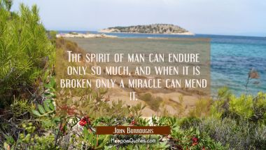 The spirit of man can endure only so much and when it is broken only a miracle can mend it.