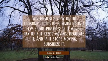 Government's view of the economy could be summed up in a few short phrases: If it moves tax it. If Ronald Reagan Quotes