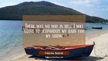 There was no way in hell I was going to jeopardize my baby for my show. Christina Aguilera Quotes