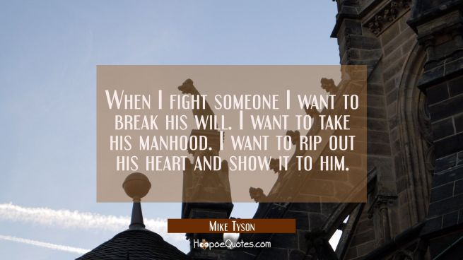 When I fight someone I want to break his will. I want to take his manhood. I want to rip out his he
