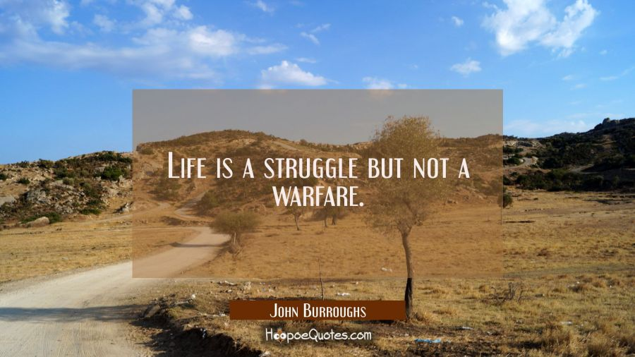 Life is a struggle but not a warfare. John Burroughs Quotes