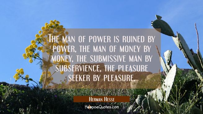 The man of power is ruined by power, the man of money by money, the submissive man by subservience, the pleasure seeker by pleasure.