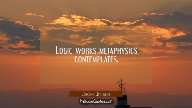 Logic works metaphysics contemplates.
