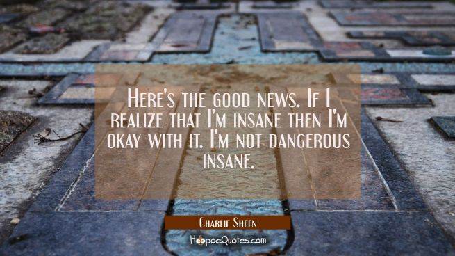 Here's the good news. If I realize that I'm insane then I'm okay with it. I'm not dangerous insane.