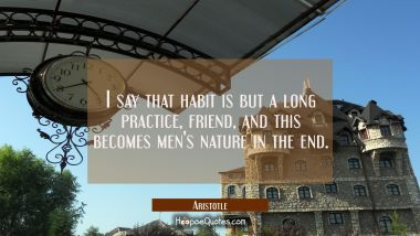 I say that habit's but a long practice friend And this becomes men's nature in the end Aristotle Quotes