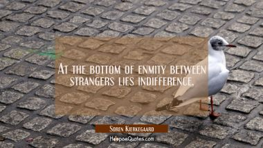At the bottom of enmity between strangers lies indifference. Soren Kierkegaard Quotes