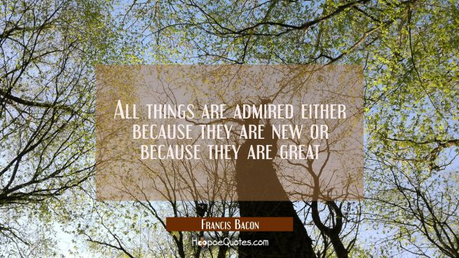 All things are admired either because they are new or because they are great