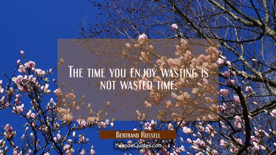 The time you enjoy wasting is not wasted time. Bertrand Russell Quotes