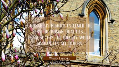 Courage is rightly esteemed the first of human qualities... because it is the quality which guarant Winston Churchill Quotes
