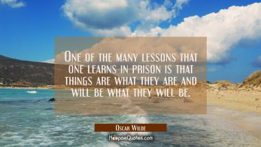 One of the many lessons that one learns in prison is that things are what they are and will be what