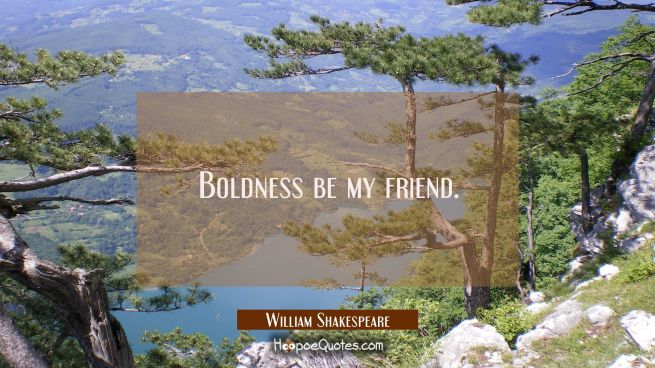 Boldness be my friend.