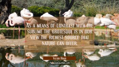 As a means of contrast with the sublime the grotesque is in our view the richest source that nature