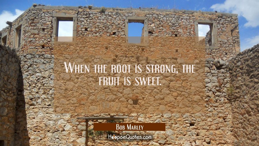 When the root is strong, the fruit is sweet. Bob Marley Quotes