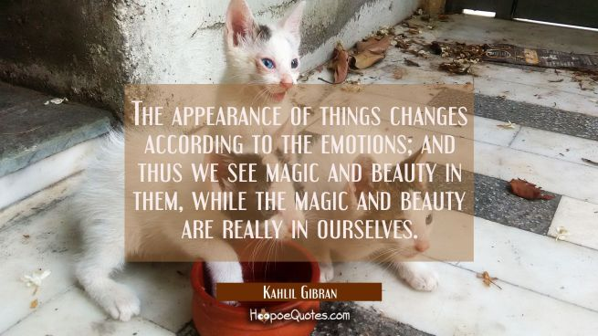 The appearance of things changes according to the emotions; and thus we see magic and beauty in them, while the magic and beauty are really in ourselves.
