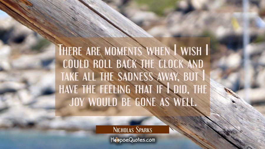 There are moments when I wish I could roll back the clock and take all the sadness away, but I have the feeling that if I did, the joy would be gone as well. Nicholas Sparks Quotes