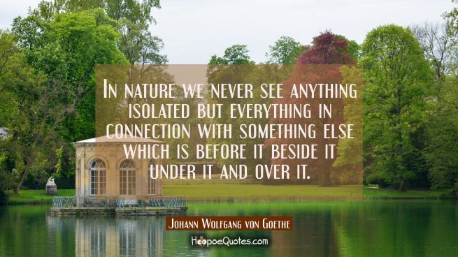 In nature we never see anything isolated but everything in connection with something else which is