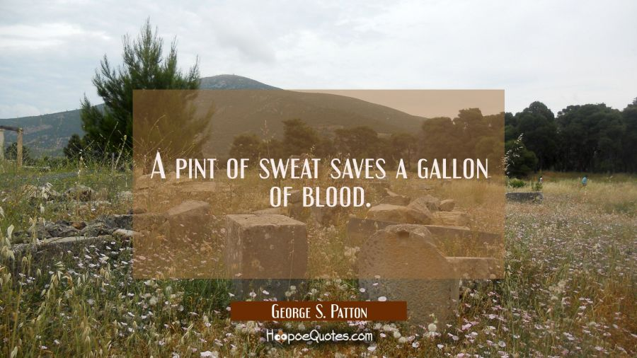 A pint of sweat saves a gallon of blood. George S. Patton Quotes